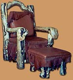 Wood Carved Chair & Ottoman