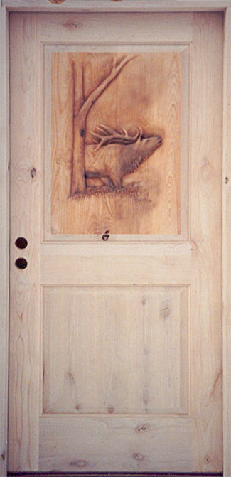 Horn Mountain Living - Elk Carved Door